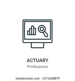 Actuary outline vector icon. Thin line black actuary icon, flat vector simple element illustration from editable professions concept isolated on white background
