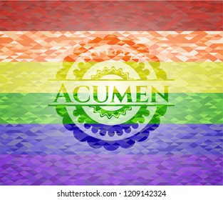 Acumen emblem on mosaic background with the colors of the LGBT flag