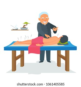Acupuncture body therapy. Asian Chinese traditional medicine treatment. Woman undergoing the procedure on her back in a medical room, salon. Vector cartoon illustration isolated from white.