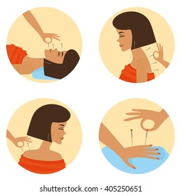 acupuncture session. young beautiful woman flat icon.