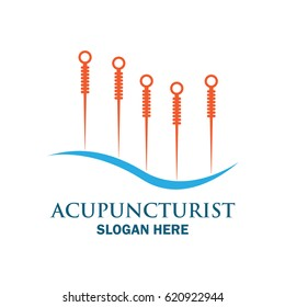 acupuncture therapy logo with text space for your slogan / tagline, vector illustration