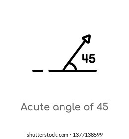 acute angle of 45 degrees vector line icon. Simple element illustration. acute angle of 45 degrees outline icon from shapes concept. Can be used for web and mobile
