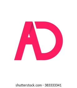 AD alphabet composition for logo or signature