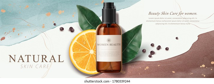 Ad banner for natural beauty products, skincare mock-ups decorated with watercolor strokes, gold foil texture, and sliced lemon, 3d illustration