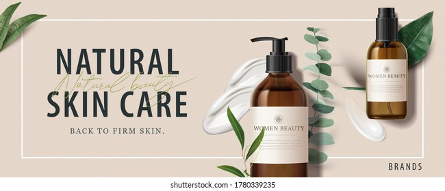 Ad banner for simple beauty products, mock-ups decorated with natural leaves and cream strokes, concept of organic skincare, 3d illustration