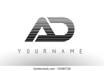 AD   Black and White Stripes Letter Logo Design with Horizontal Lines.