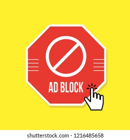 Ad block or red stop sign icon
