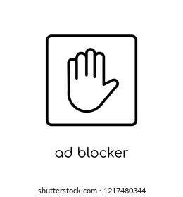 ad blocker icon. Trendy modern flat linear vector ad blocker icon on white background from thin line Marketing collection, outline vector illustration