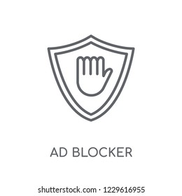 Ad blocker linear icon. Modern outline Ad blocker logo concept on white background from Marketing collection. Suitable for use on web apps, mobile apps and print media.