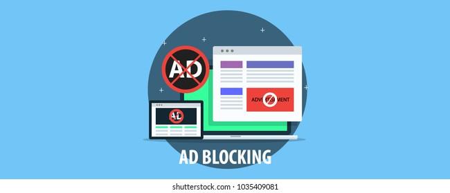 Ad blocking, Pop up ad blocker flat vector banner icon