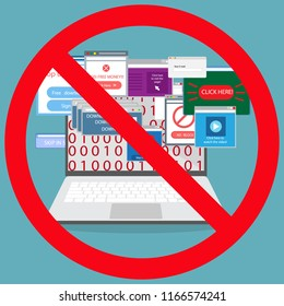 Ad blocking, Pop up ad blocker flat vector banner icon.Stop spam.