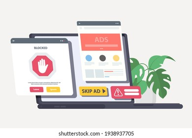 Ad blocking, Pop up ad blocker flat vector. removing online advertising, ad filtering tools concept. Pink coral blue vector isolated illustration