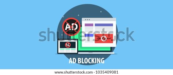 Ad Blocking Pop Ad Blocker Flat Stock Vector (Royalty Free