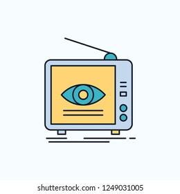 Ad, broadcast, marketing, television, tv Flat Icon. green and Yellow sign and symbols for website and Mobile appliation. vector illustration