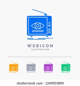 Ad, broadcast, marketing, television, tv 5 Color Glyph Web Icon Template isolated on white. Vector illustration