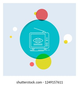 Ad, broadcast, marketing, television, tv White Line Icon colorful Circle Background