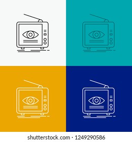 Ad, broadcast, marketing, television, tv Icon Over Various Background. Line style design, designed for web and app. Eps 10 vector illustration