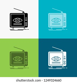 Ad, broadcast, marketing, television, tv Icon Over Various Background. glyph style design, designed for web and app. Eps 10 vector illustration