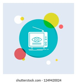 Ad, broadcast, marketing, television, tv White Glyph Icon colorful Circle Background