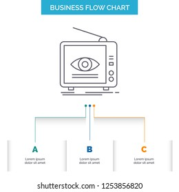 Ad, broadcast, marketing, television, tv Business Flow Chart Design with 3 Steps. Line Icon For Presentation Background Template Place for text