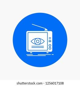 Ad, broadcast, marketing, television, tv White Glyph Icon in Circle. Vector Button illustration