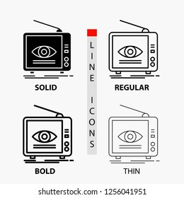 Ad, broadcast, marketing, television, tv Icon in Thin, Regular, Bold Line and Glyph Style. Vector illustration