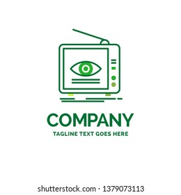 Ad, broadcast, marketing, television, tv. Flat Business Logo template. Creative Green Brand Name Design.
