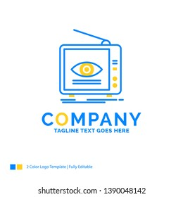 Ad, broadcast, marketing, television, tv Blue Yellow Business Logo template. Creative Design Template Place for Tagline.