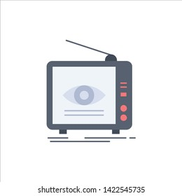 Ad, broadcast, marketing, television, tv Flat Color Icon Vector
