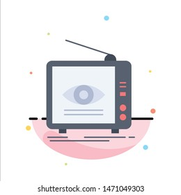 Ad, broadcast, marketing, television, tv Flat Color Icon Vector. Vector Icon Template background