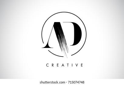AD Brush Stroke Letter Logo Design. Black Paint Logo Leters Icon with Elegant Circle Vector Design.