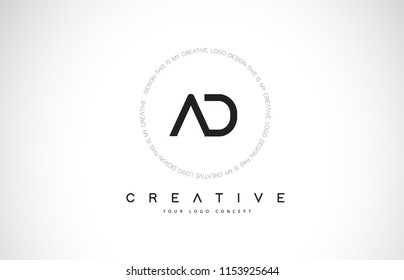 AD A D Logo Design with Black and White Creative Icon Text Letter Vector.