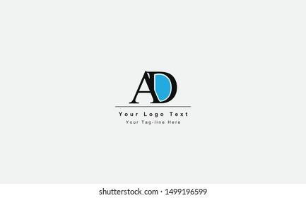 AD or DA Logo Letter. Unique attractive creative modern initial AD DA A D initial based letter icon logo