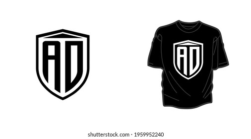 AD DA logo monogram with emblem shield style design template, perfect for t-shirt, hoodie, etc