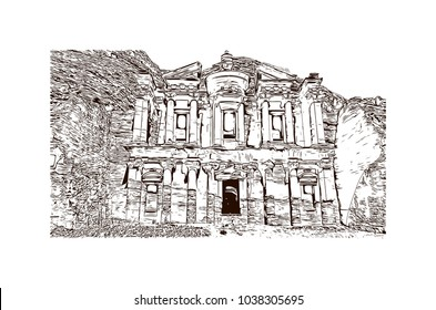 Ad Deir, also known as El Deir, is a monumental building carved out of rock in the ancient Jordanian city of Petra, Jordan. Hand drawn sketch illustration in vector.