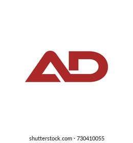 AD initial letter logo design template vector