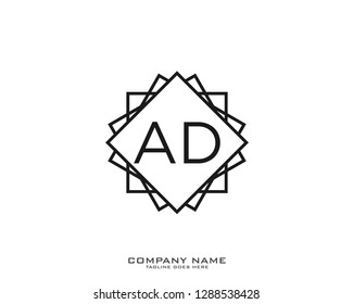 AD Initial logo template vector