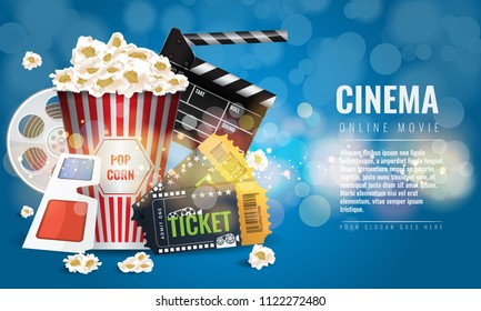 Ad layout template for the film industry. Elements of the movie or film industry.