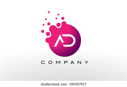 AD Letter Dots Logo Design with Creative Trendy Bubbles and Purple Magenta Colors.