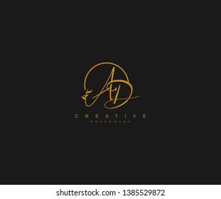 AD letter linked calligraphic monogram emblem style vector logo
