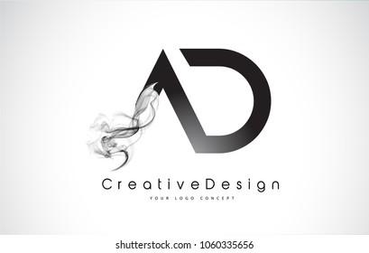 AD Letter Logo Design with Black Smoke. Creative Modern Smoke Letters Vector Icon Logo Illustration.