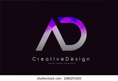 AD Letter Logo Design in Purple Texture Colors. Creative Modern Letters Vector Icon Logo Illustration.