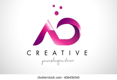 AD Letter Logo Design Template with Purple Colors and Dots