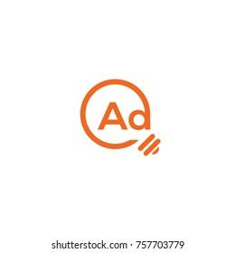 ad logo idea flat vector logo template