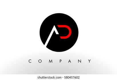 AD Logo.  Letter Design Vector with Red and Black Colors.