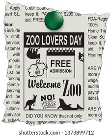 Ad in the newspaper Welcome to the zoo. Free admission - Zoo Lovers Day