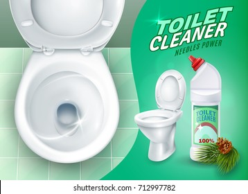 Ad poster with realistic shiny toilet on green tile and cleaner gel with pine needles vector illustration