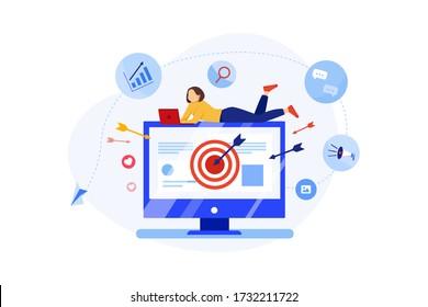 Ad Targeting Concept. Online Marketing Vector Illustration.