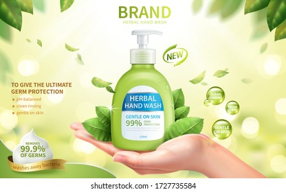 Ad template of fresh herbal hand wash, realistic female hand in open palm gesture with dispenser bottle, 3d illustration