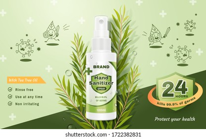 Ad template of hand sanitizer spray, realistic spray bottle decoration with tea tree leaves and cute flat illustrations of germs, 3d illustration